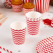Carnival Red Paper Cups - Waves (8)